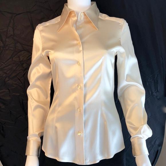 3485dfffd81f11 Dolce & Gabbana Tops | Ivory Silk Satin Blouse Sz 40 | Poshmark